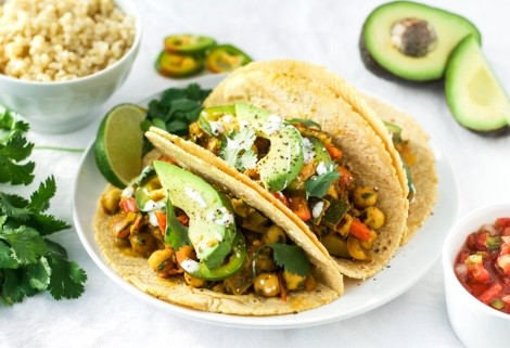 ROASTED ZUCCHINI AND CHICKPEA TACOS