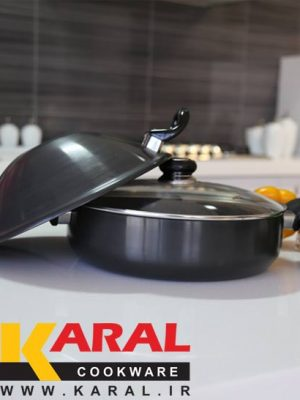 Karal Hard Anodized 3 Pieces Wok Set size 34